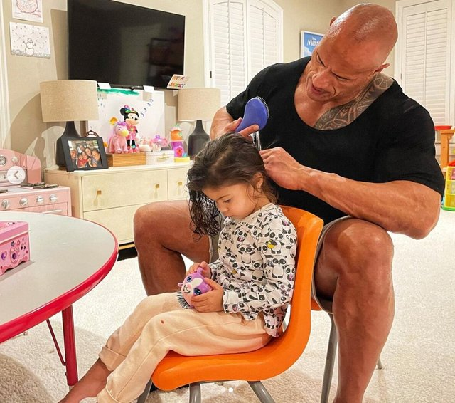<p>There are all kinds of Dads: The Rock enjoying time with his daughter</p>
