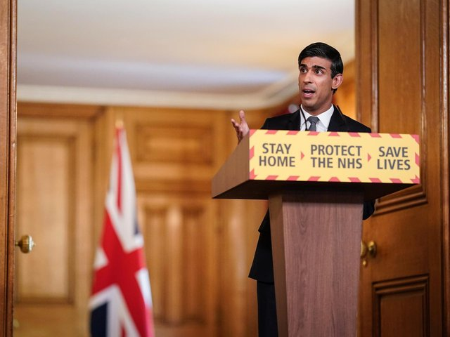 Chancellor Rishi Sunak speaking during a media briefing in Downing Street, London, on coronavirus (COVID-19). Photo: Downing Street / PA