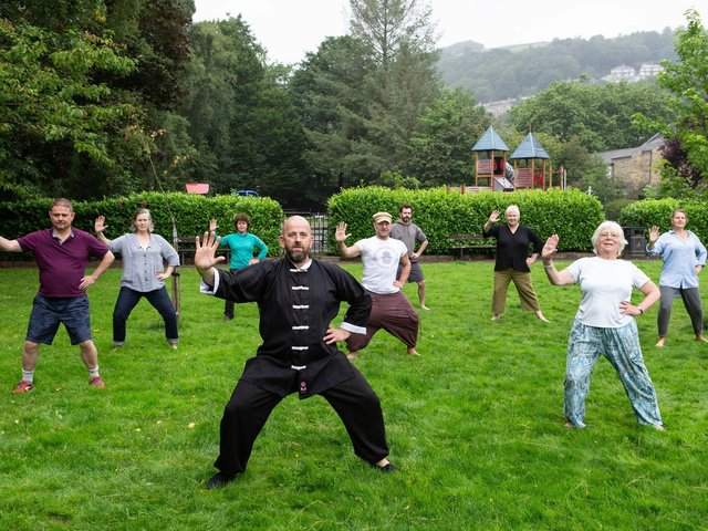 Hebden Bridge Tai Chi instructor Jonathan Foulger has paired up with Nic Chapman of, the Avalon Institute, to provide free lessons to residents in a bid to bust lockdown stress. Photo by Bruce Fitzgerald.