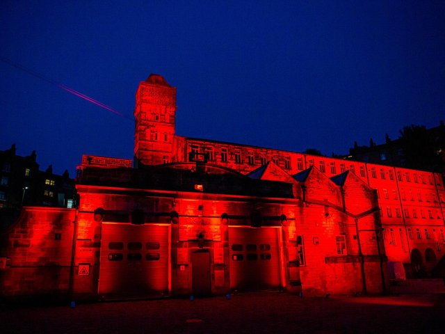 Halifax Playhouse, Todmorden Hippodrome and Calrec Audio turned red as part of the national #WeMake Events campaign.