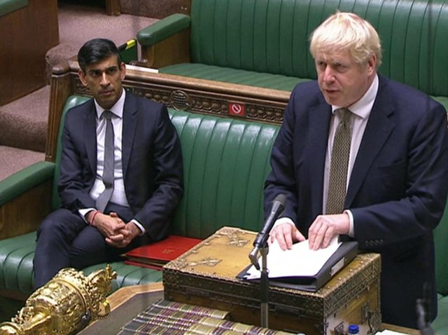 Prime Minister Boris Johnson making a statement in the House of Commons in London, setting out a new three-tier system of controls for coronavirus in England. Photo: PA