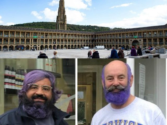 Ramesh Mistry and Ken Robertshaw of the Rotary Club of Halifax have dyed their hair and beards purple
