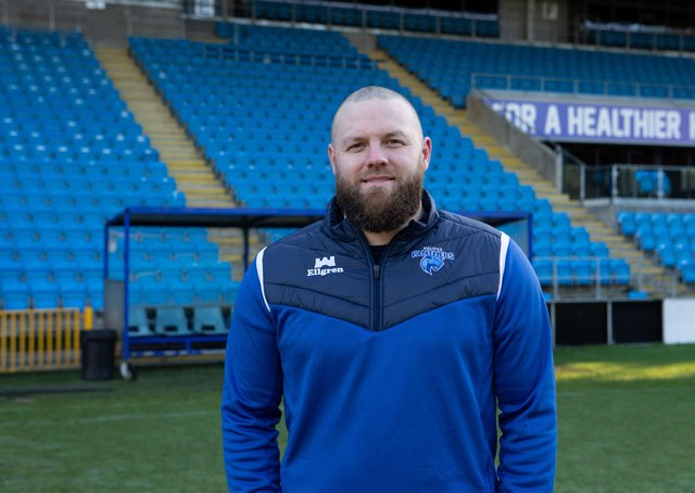 Coach Simon Grix at the launch of newly named Halifax Panthers, formerly Fax RLFC at the Shay, Halifax