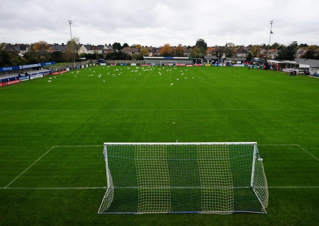 A general view of the pitch at Wealdstone FC. (Photo by Dan Mullan/Getty Images)