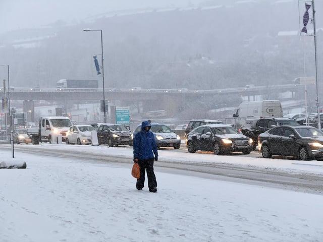 Snow in Halifax town centre