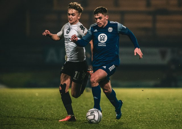FC Halifax Town v Eastleigh at The Shay December 22, 2020. Photo: Marcus Branston. Billy Chadwick