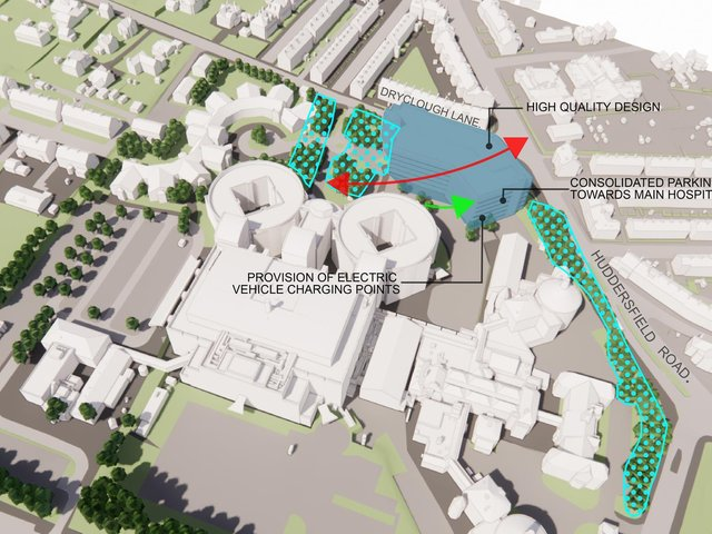 The highlighted blue area shows where the multi-storey car park will be built in front of the existing main entrance