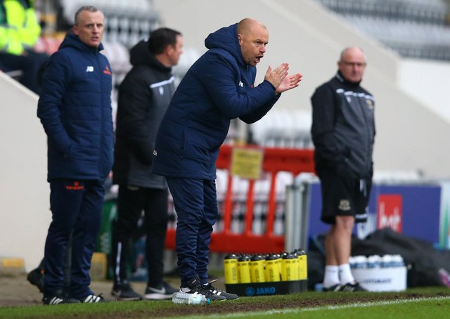 MORECAMBE, ENGLAND - NOVEMBER 28:  Jimmy Shan, Manager of Solihull Moors during the FA Cup Second Round match between Morcambe and Solihull Moors on November 28, 2020 in Morecambe, England. Sporting stadiums around the UK remain under strict restrictions due to the Coronavirus Pandemic as Government social distancing laws prohibit fans inside venues resulting in games being played behind closed doors. (Photo by Alex Livesey/Getty Images)