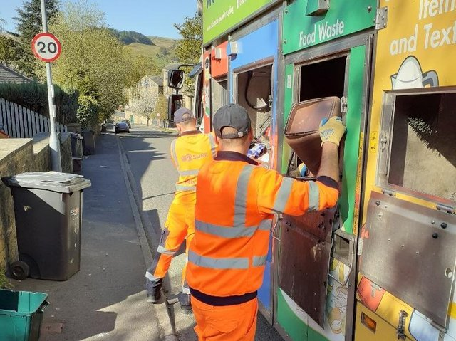 SUEZ staff collecting waste and recycling in Calderdale.