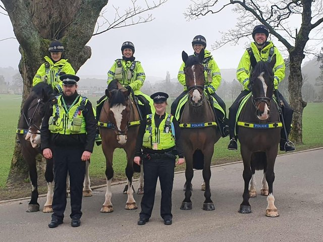 West Yorkshire Police Mounted section in Todmorden (Picture WYP)