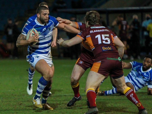 Action from Halifax's defeat to Batley. Pic: Simon Hall/OMH Rugby Pics