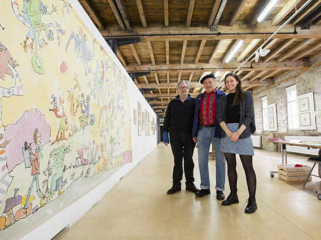 Quentin Blake exhibition at The Artworks, Halifax in 2017. Directors, from the left, Peter Stanyer, John Ross and Lauren Iredale.