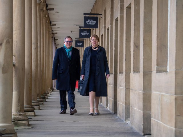 Roger Marsh OBE, DL, Chair of The Piece Hall Trust, and Nicky Chance-Thompson DL, Chief Executive of The Piece Hall Trust