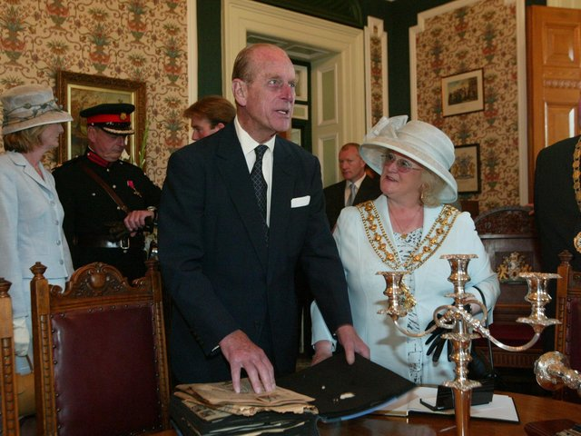 Prince Philip and Geraldine Carter when she was Mayor of Calderdale