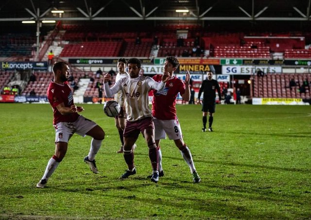 Action from Wrexham v Halifax in January. Photo: Declan Lloyd