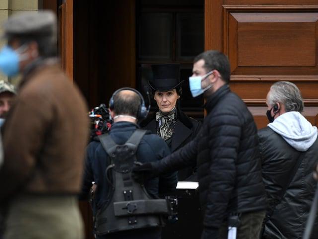 Suranne Jones plays Anne Lister in the BBC series Gentleman Jack filming at Salts Mill in Saltaire