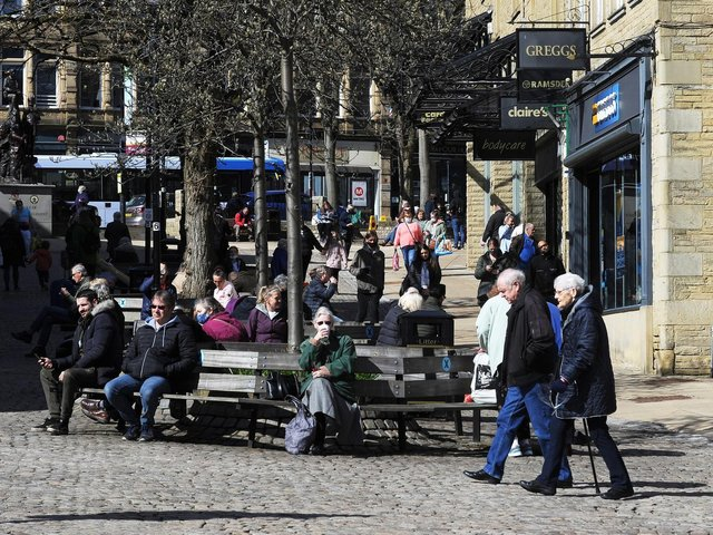 Shoppers in Halifax town centre