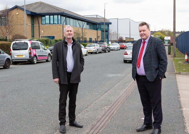 Alisdair Couper MD of Terberg and Steven Chambers MD of the Waddington Ledger Group, at Lowfields Business Park, Elland, sick and tired of lack of action over anti social behaviour, namely cars racing on the estate