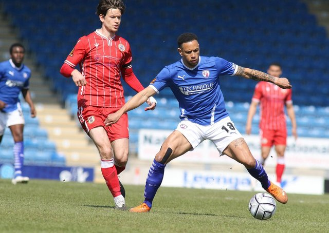 Chesterfield's Nathan Tyson in action against Bromley on Saturday