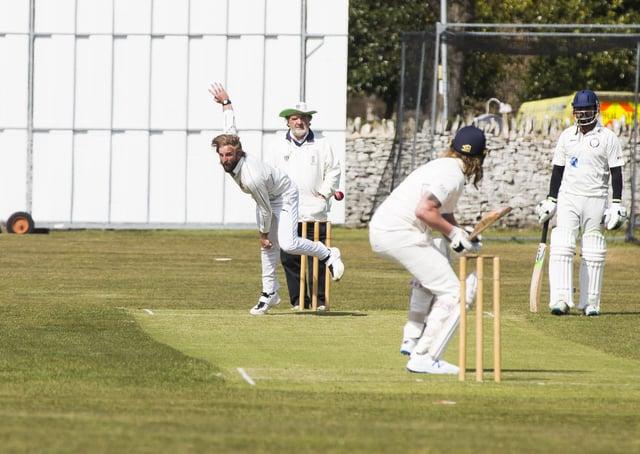 Cricket action from the opening of the season last weekend - Elland v Marsden. Elland captain Kieran Rogers bowls.
