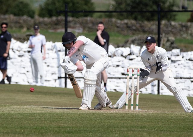 Actions from Bradshaw v Thornton, cricket, at Bradshaw CC. Pictured is Matthew Crowther