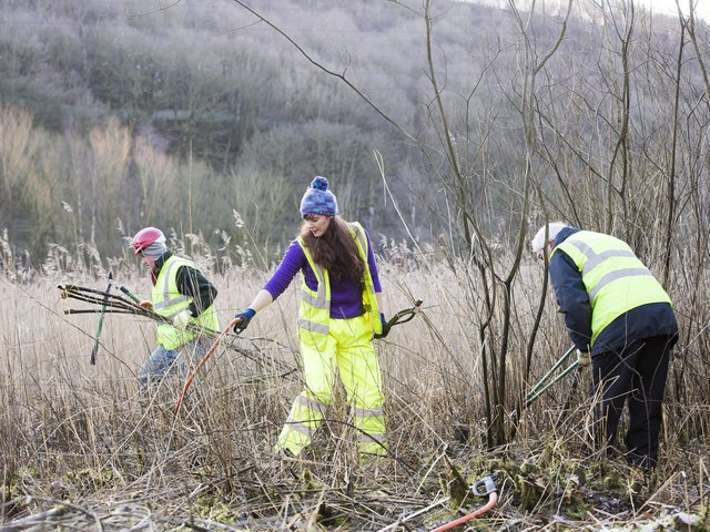 Volunteers at Cromwell Bottom Nature Reserve
