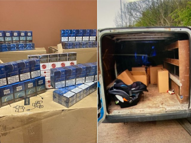 The illegal cigarettes found in the van (Picture WYP)