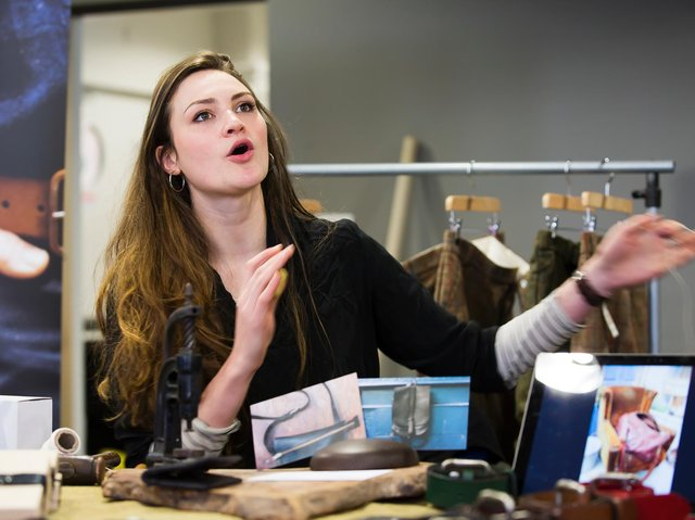 Leather worker Ruby Creagh pictured at Trouser Town Bizarre Bazaar at the Birchcliffe Centre, Hebden Bridge