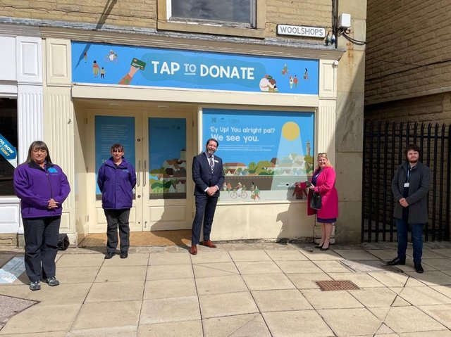 Mandy Clarke, Helen Charles, Jason Gregg, Rachel Oates, Lewis Parry and James Slavin launch the first permanent contactless card donation point in Calderdale for CFFC.
