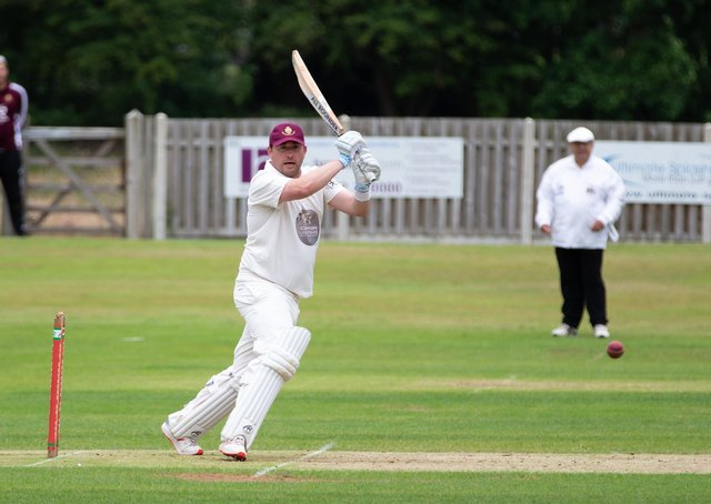 Actions from Lightcliffe v Cleckheaton cricket at Lightcliffe CC. Pictured is Alex Stead