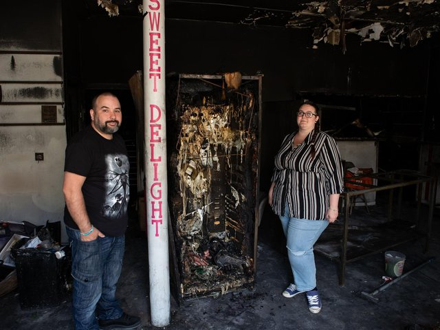 James Barry and Natasha Parry vow to rebuild their fire-ravaged cafe, Sweet Delight @ The Mill Cafe, Shay Lane