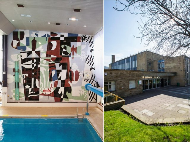 The mosaic by Kenneth Barden at Halifax Swimming Pool. Picture by Andrew Caveney courtesy of the Pevsner Architectural Guides/Yale University Press