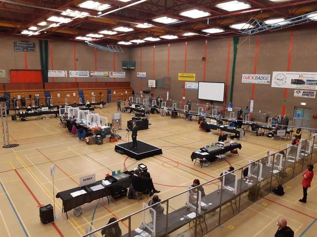 Election count at North Bridge Leisure Centre
