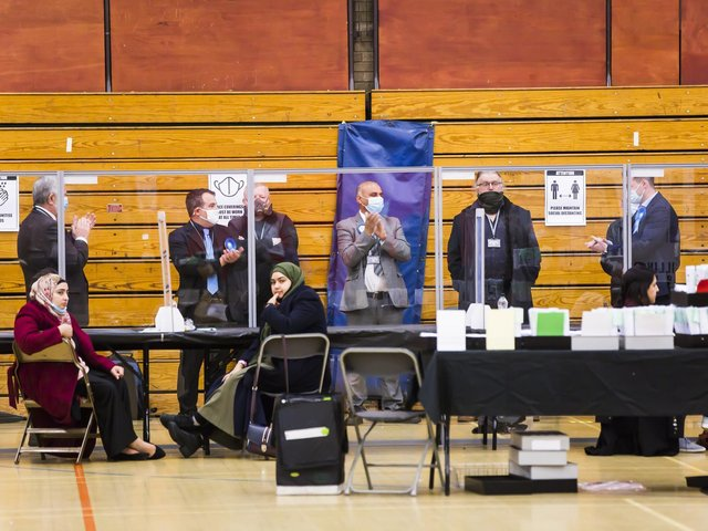 Local election count at North Bridge Leisure Centre, Halifax.