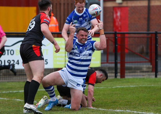 Try time for Halifax Panthers in their 36-0 win over Dewsbury Rams. Picture: simonomhrugbypics.