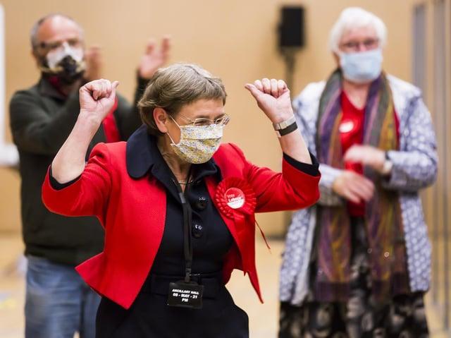 Local election count at North Bridge Leisure Centre, Halifax. Councillor Jane Scullion, Labour, Luddendenfoot.