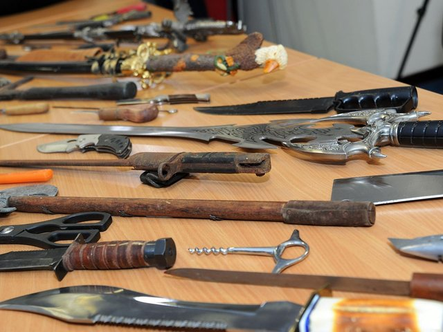 Stock image of seized knives