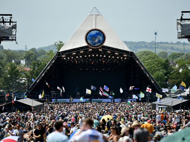 Crowds of festival-goers at the Pyramid Stage during day three of Glastonbury Festival at Worthy Farm in 2019. (Photo by Leon Neal/Getty Images)