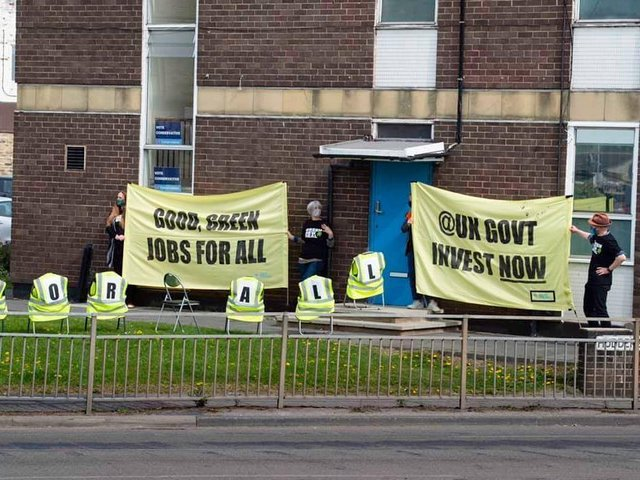 """Green New Deal campaigners' """"green jobs queue"""" at Calder Valley MP Craig Whittaker's office"""