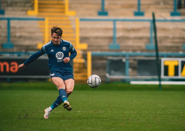 FC Halifax Town v Sutton United, The Shay, Saturday, March 27. Photo: Marcus Branston. Neill Byrne