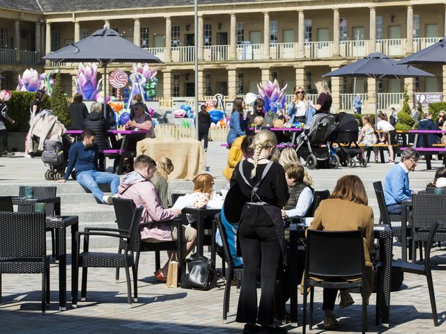 Crowds flocked to The Piece Hall, Halifax when restrictions were lifted.