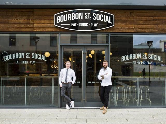 Ben Watson and Joe Wood at Bourbon Street Social, Broad Street Plaza, Halifax.