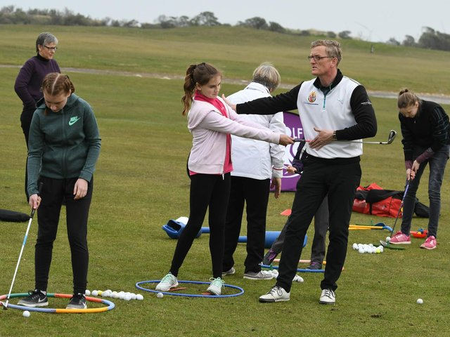 Coaching takes place a Girls Golf Rocks event at Seaton Carew Golf Club in 2017.