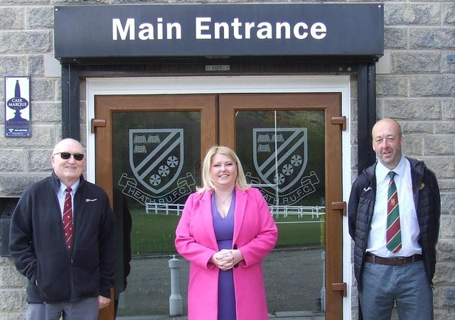 Rachel Oates from the  Community Foundation for Calderdale (CFFC), together with Heath RUFC President David Meir and Chairman Paul Sutcliffe, at a recent visit to the club.