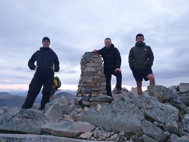 Scafell Pike: (left to right) – Magnus Meese, Dan Bell and Sam Brammar
