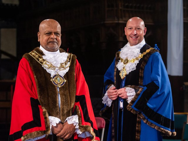 The New Mayor of Calderdale Councillor Chris Pillai and the new Deputy Mayor Howard Blagbrough