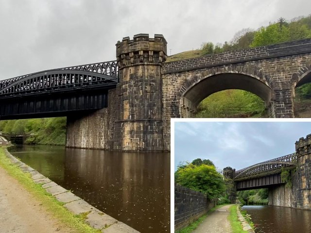 Gauxholme Viaduct following the works (before inset).