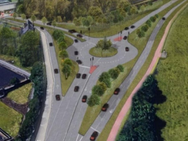 An artist's impression of the re-modelled Cooper Bridge roundabout and new slip roads set to be put out to public consultation next week