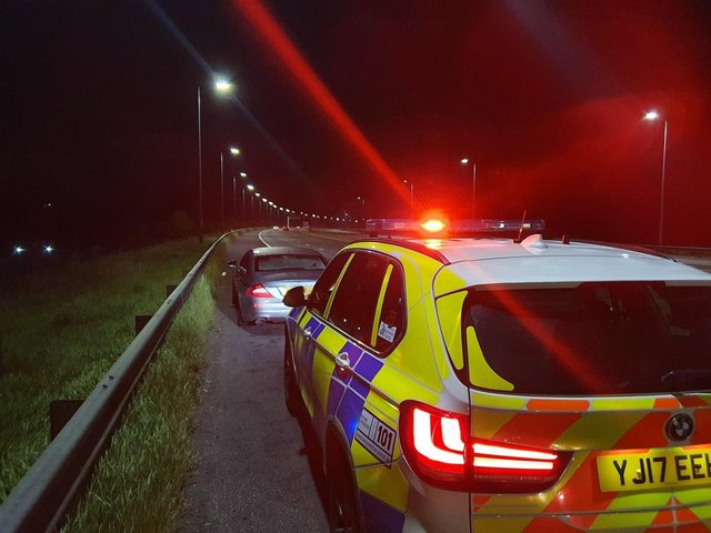 Police officers stopped the car on the M62