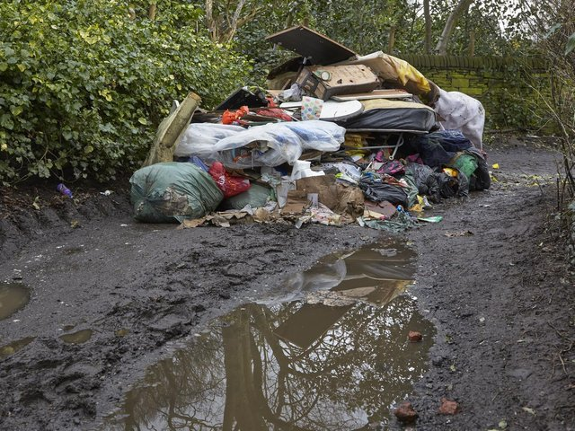 An example of fly tipping in Halifax